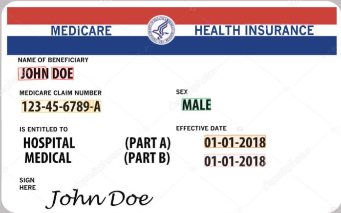 Health insurance card OCR