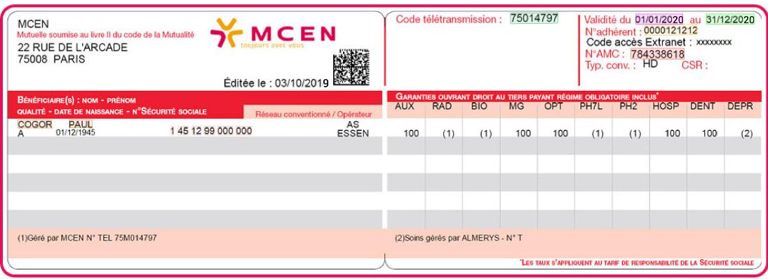 Health insurance card (Carte mutuelle) OCR