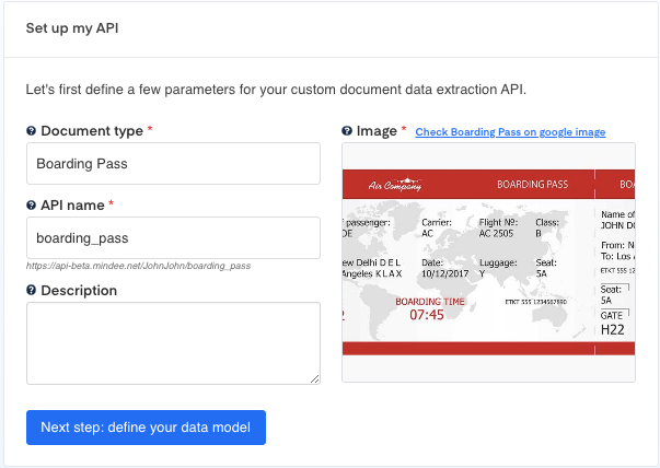 Set up your Boarding Pass OCR API
