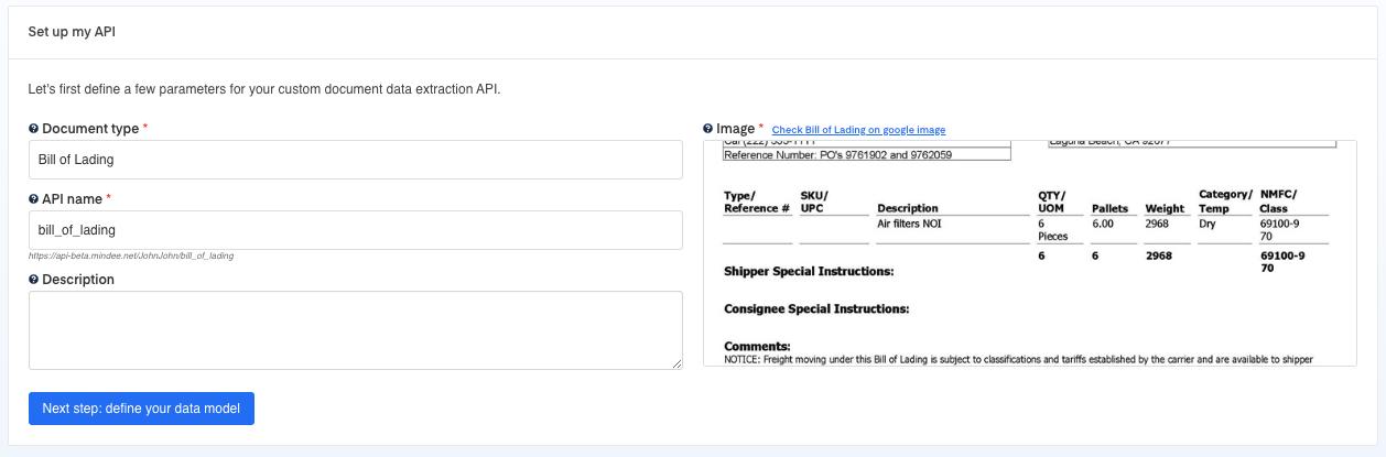 Set up your Bill of Lading  OCR API