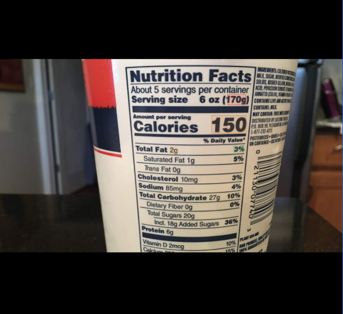 Nutrition Facts label OCR