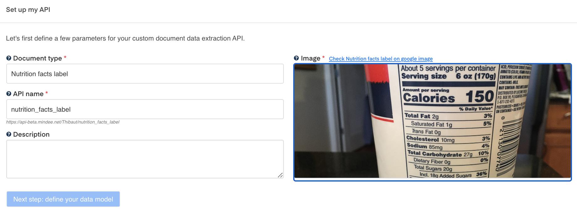 "Setup your nutrition facts label OCR API"""