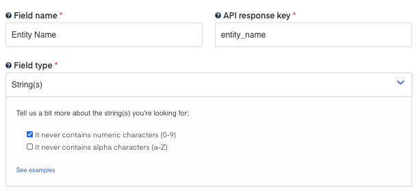 Entity Name field for  Certificate of Status  OCR
