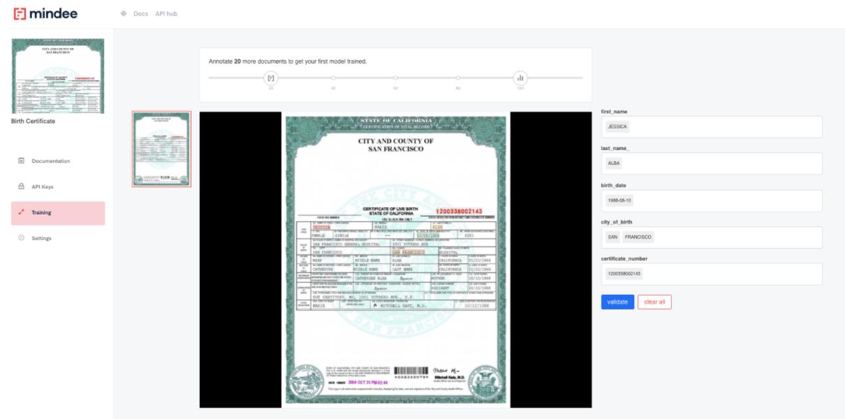 Deep learning Birth Certificate  OCR API