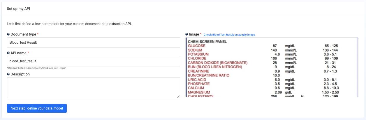 Set up your Blood Test Results OCR API