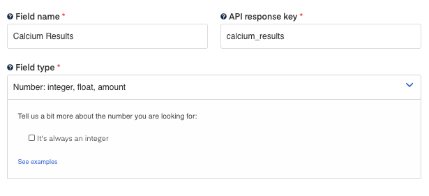 Calcium Results field for Blood Test Results OCR