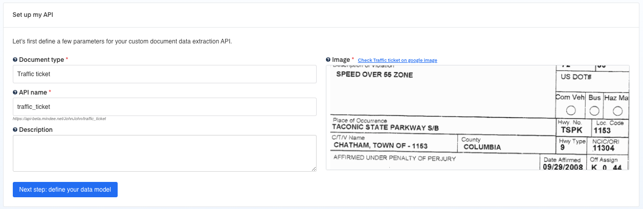 Set up your  Traffic Ticket OCR API