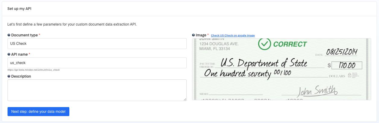 Set up your  Bank Checks OCR API