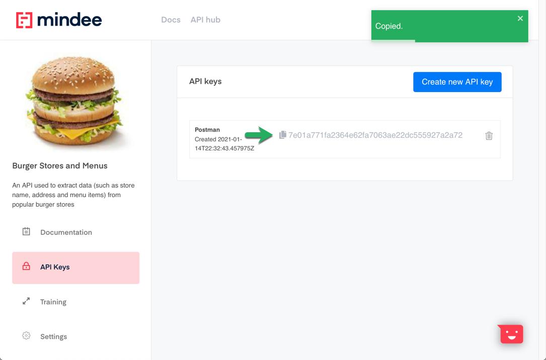 Mindee API Builder - Copy API key