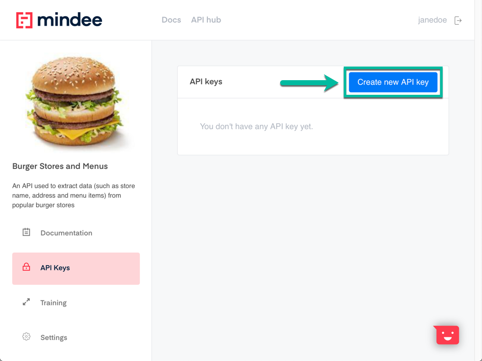 Mindee API Builder - create new API key