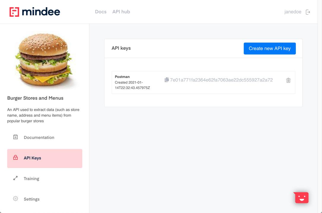 API Builder API key created